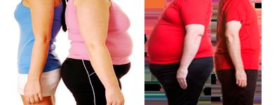 dos-mujeres-y-dos-hombres-espalda-contra-espalda-delgados-y-obesos